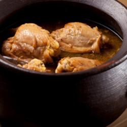 Pollo al coñac con arroz