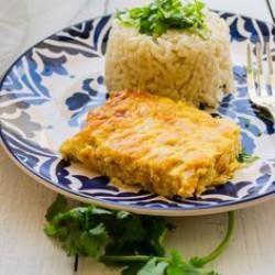 Tortilla de atún con arroz primavera