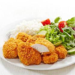 Chicken nuggets mei ierpels en griente oan 'e oven