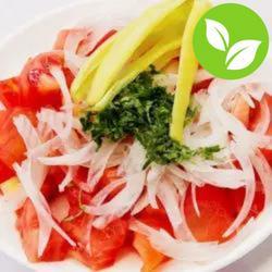Salad chile gyda pupur gwyrdd