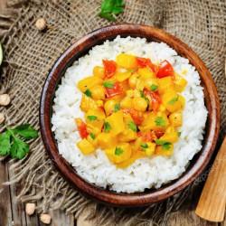 Plantaardige curry rijst met kids