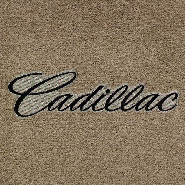 Cadillac Script Black on Tan Background Applique