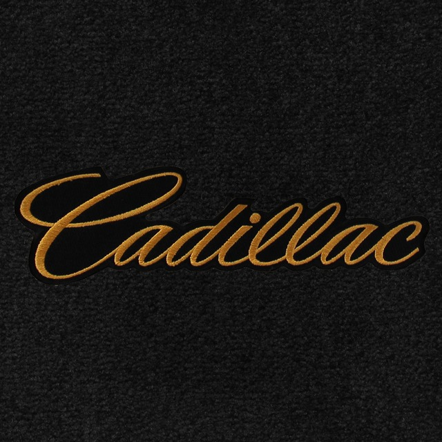 Cadillac Script Gold on Black Background Applique