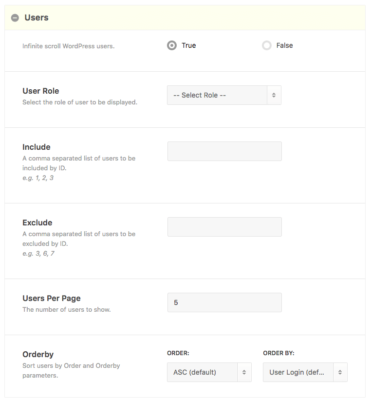 Users Shortcode Builder Options