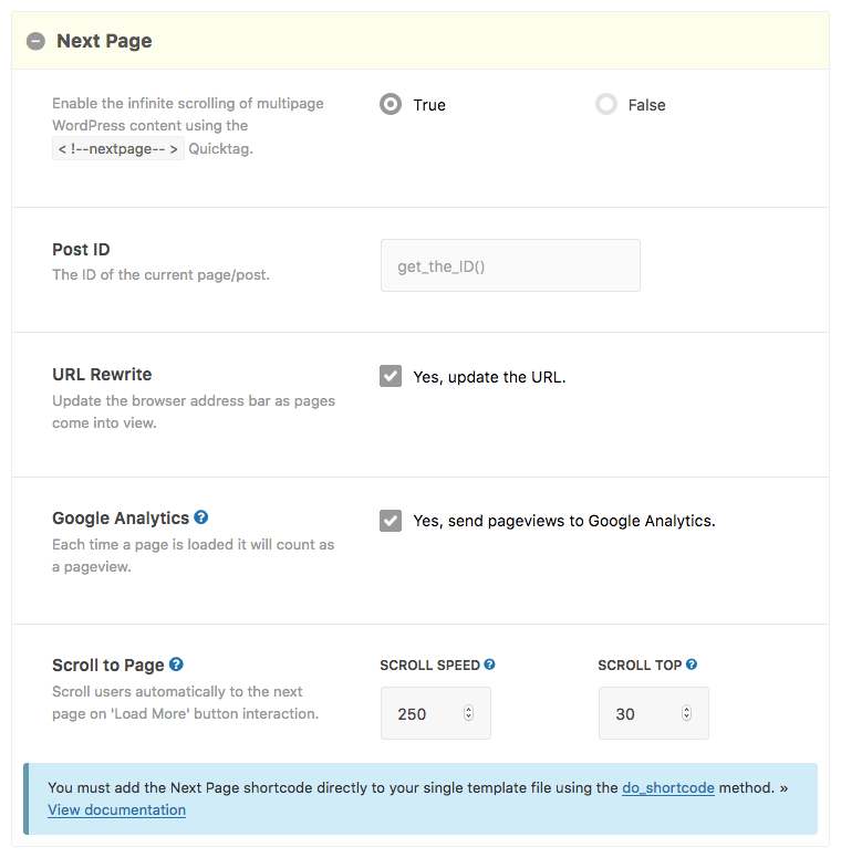 Nextpage Shortcode Builder Options