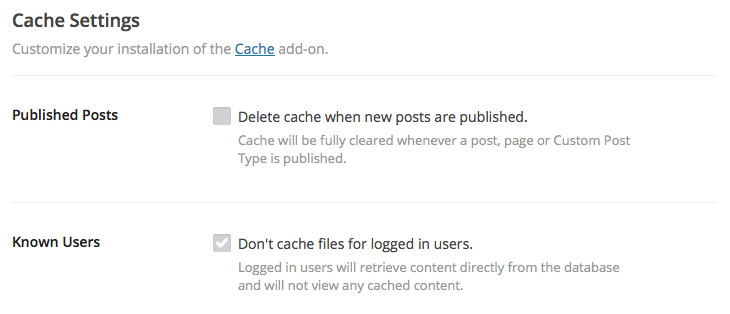 Cache Settings