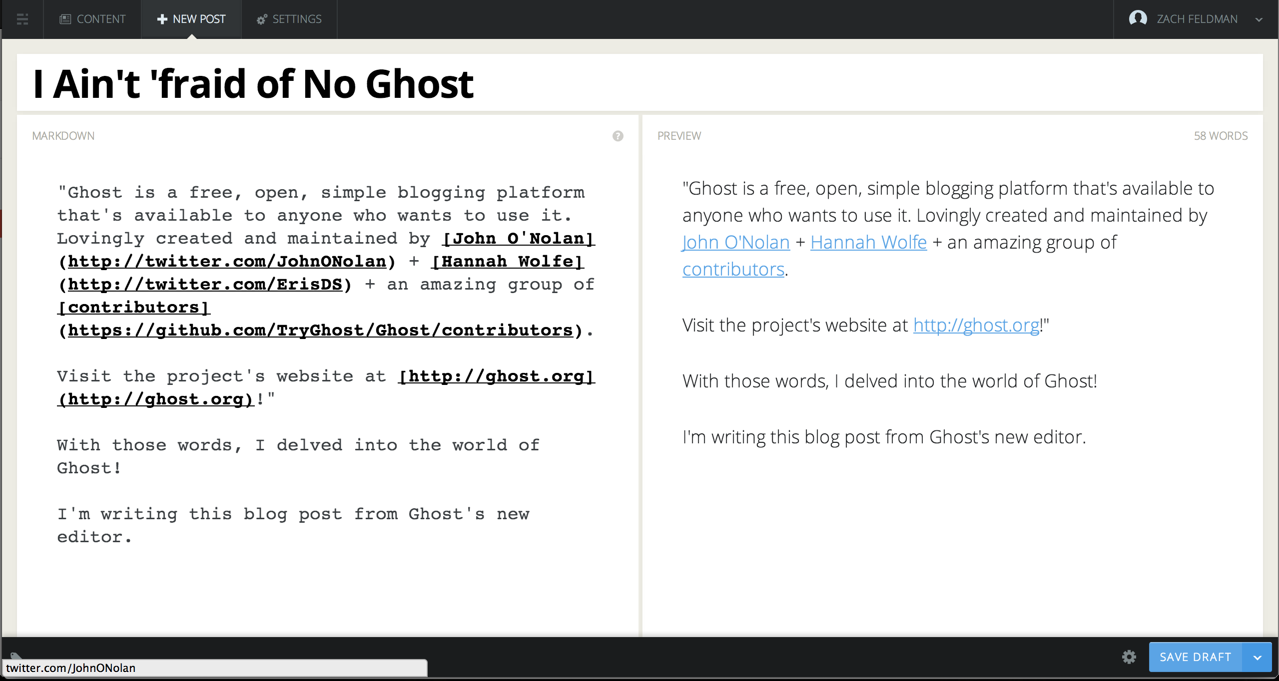 Ghost Post Editor