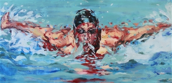 Daniella Queirolo - Swimmer Oil on Canvas, Paintings