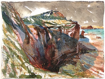 Frances Hatch - High Peak. Prussian Shadow. Devon. Mixed Media on Archival Paper, Mixed Media