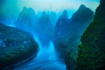 Mireille Pizzo - Karst Formations and Li River Photograph on Metallic Paper, Photography