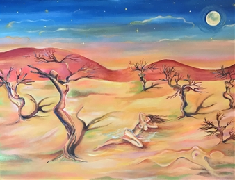 Teona Titvinidze-Kapon - Desert Acrylic on Canvas, Paintings