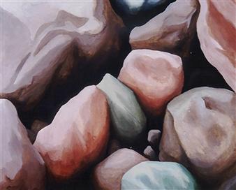 Di Stefano - Sassi  (Stones) Acrylic on Wood, Paintings