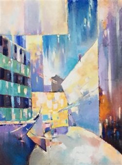 Monika Gloviczki - Love in the NY City Oil on Canvas, Paintings