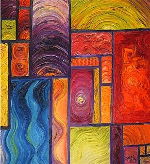 Dan Aug - Gravitational Waves Oil on Canvas, Paintings