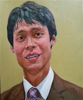 Takumi Kata (TAKU) - Hiroki (Youth in Brown Suit) Oil on Canvas, Paintings