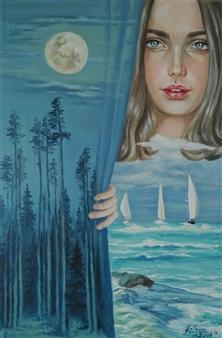 Helena Zyryanova - Full Moon Oil on Canvas, Paintings