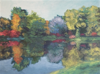 Margaret Adams - Fall Lake Oil on Canvas, Paintings