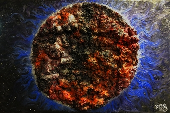 Dan Aug - Bloody Moon Collage of GESO & Oil on Canvas, Mixed Media