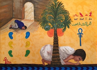 Ragaa Mansour - Prayers Oil on Canvas, Paintings