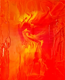 Natalia Gaviria - Orange Chaos Resin on Canvas, Mixed Media