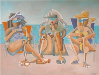 RW Fuller - Vicki, Linda and Mary at the Beach Oil on Canvas, Paintings