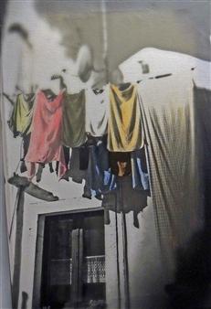 Claudia Breidenbach - Lines in the Backyard Acrylic & Photograph on Canvas, Mixed Media