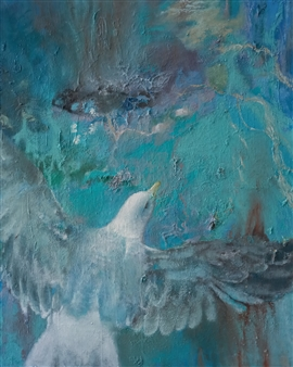 Christine Storey-Lange - Infinite Flight Mixed Media, Oil & Egg Tempera on Canvas, Mixed Media