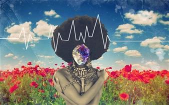 Gloria Bhargava - Afro Heartbeat Digital Collage, Digital Art