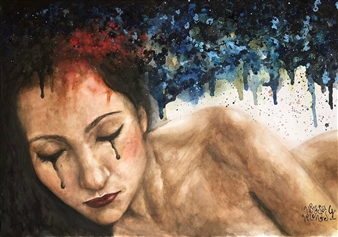 Vanessa Vilchis - The Naked Imagination of My Thoughts Watercolor on Paper, Paintings