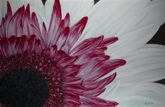 Anne E Chamness - Gerbera Daisy Acrylic on Canvas, Paintings