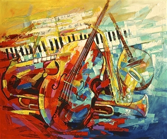 Francis Annan Affotey - Harmony of Music (framed work) Acrylic on Canvas, Paintings