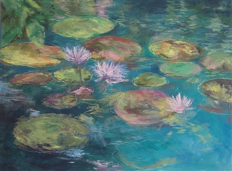 Margaret Adams - Pink Lilly Pond Oil on Canvas, Paintings