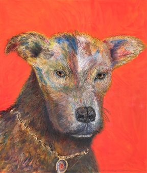 Julius L. Meyer - Duranes Dog Acrylic & Oil on Canvas, Paintings