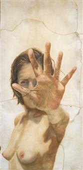Carolina Gutiérrez - Reaching Out Oil on Animal Skin, Mixed Media