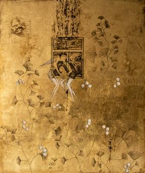 Sigrid Thaler - Das Fenster Acrylic & Gold Leaf on Canvas, Mixed Media