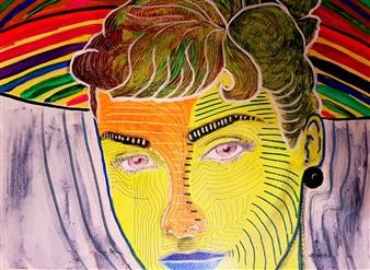 Franck Sastre - Audrey Mixed Media on Canvas, Mixed Media