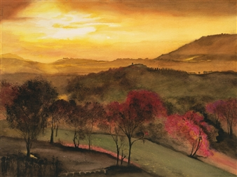 Nancy Holleran - Northern Italian Sunset Watercolor on Paper, Paintings