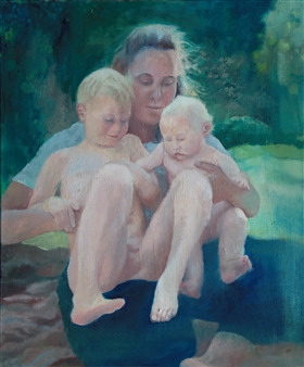 Christine Storey-Lange - Summer Mother Egg Tempera, Oil Paint, & Oil Pastel on Canvas, Paintings
