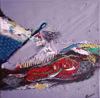 Rosalind Panda Dykla - Wild Feather Oil on Canvas, Paintings