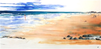 Di Taylor - Walking On Cable Beach Acrylic on Canvas, Paintings