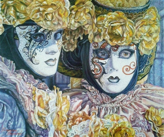 Sayumi Osanai - Venetian Mask 1 Oil on Canvas, Paintings