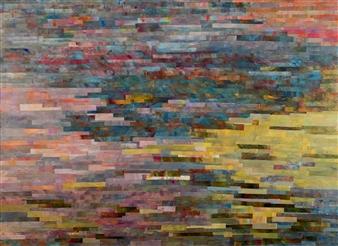 Ellen Globokar - Water Lilies Collage on Canvas, Mixed Media