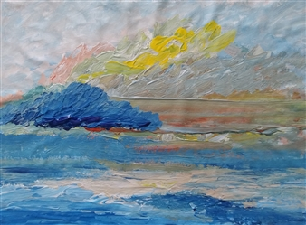 Yu He - Seaside. Evening No.523 Acrylic on Canvas, Paintings
