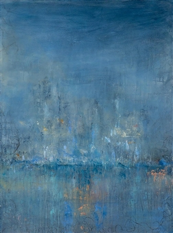 Rebecca Katz - Out of the Blue Acrylic & Graphite on Canvas, Paintings