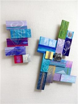 Yoshiko Kanai - On the Way #1 Acrylic & Thread on Wood, Mixed Media