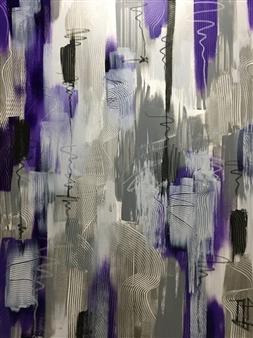 Nancy Landauer - Purple Rain Acrylic & Oil Pastel on Canvas, Paintings