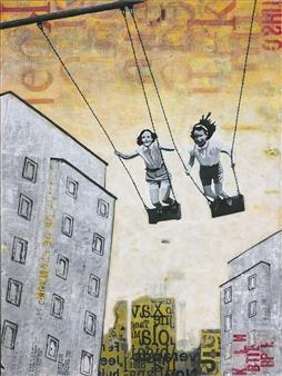 db Waterman - Sunday Swing II Acrylic & Collage on Canvas, Mixed Media