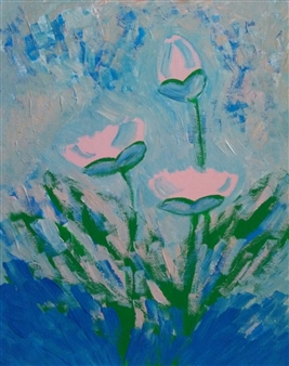Yu He - Flowers. Evening No.12-2 Acrylic on Canvas Panel, Paintings