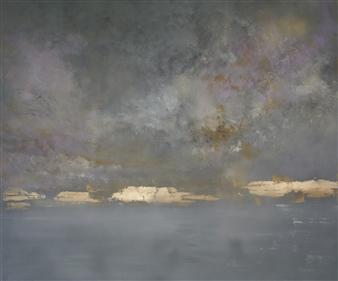 Jeannette Dannehl - Dissolve Acrylic & Gold Leaf on Canvas, Paintings