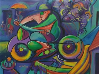 Miguel de la Cruz - Vengo del Mercado Oil on Canvas, Paintings